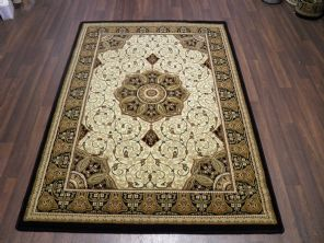 Woven Backed Ivory/Black Traditional Carved Rug 120cm x 170cm Approx 6x4 Top Quality